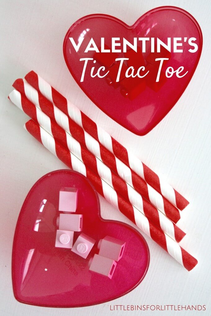 Valentines Tic Tac Toe game with Straws and LEGO