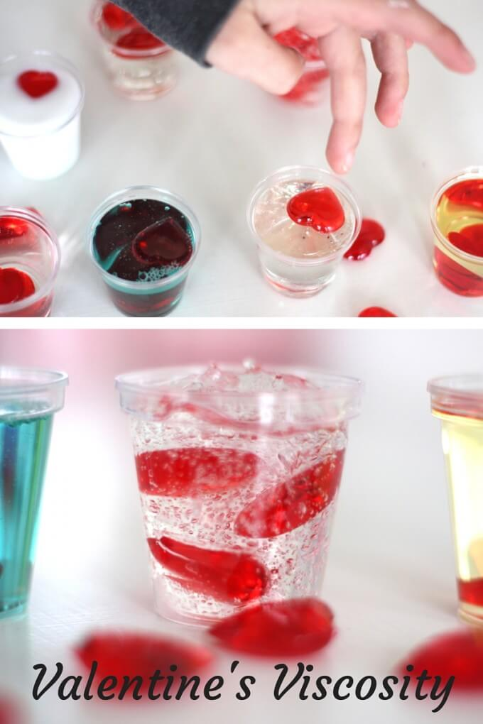 Valentines Viscosity Science Experiment with Liquids