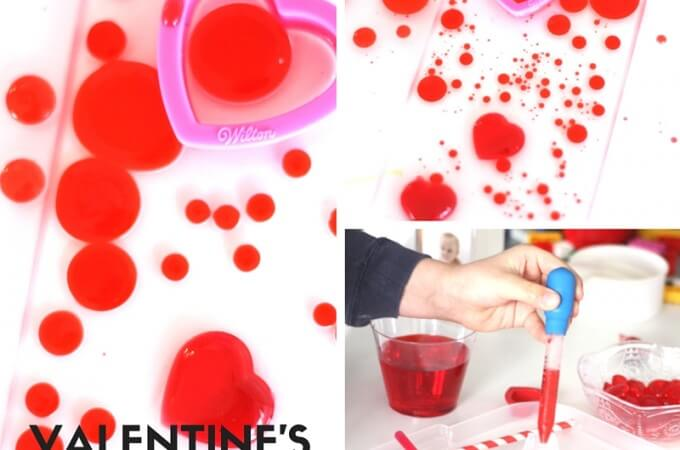 Valentines Oil and Water Science Density Activity