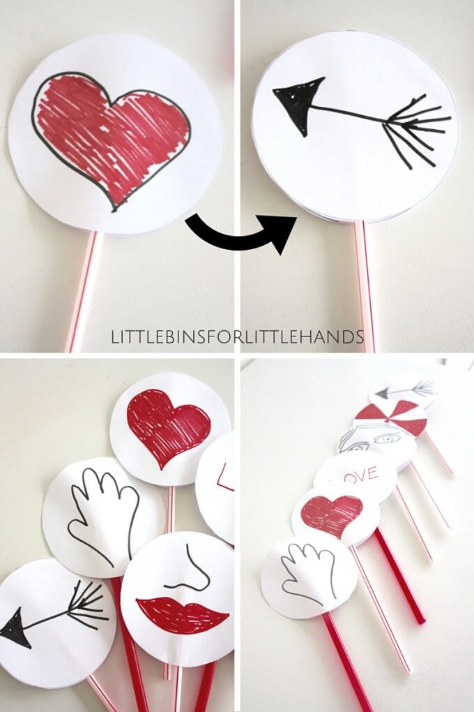 Valentines thaumatropes paper Spinner Toys
