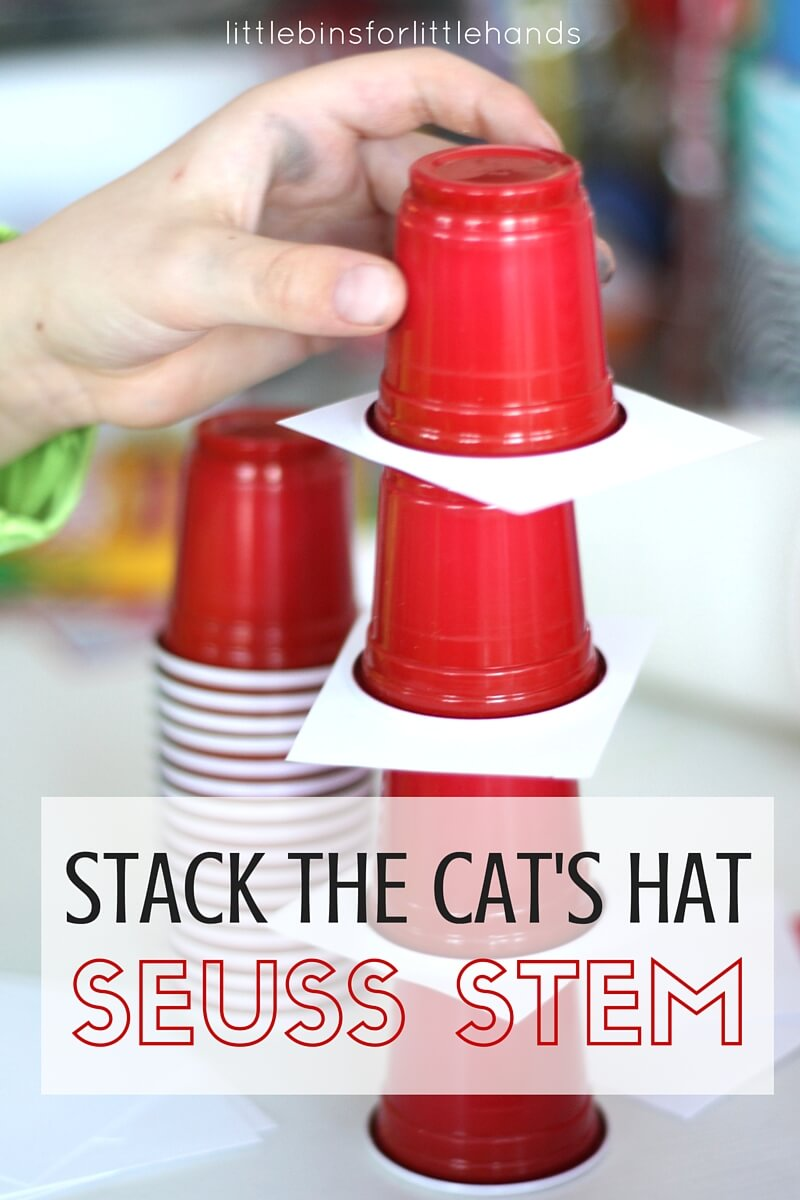 Dr Seuss STEM Challenge Cup Stacking Cat's Hat Activity for Kids. Stack the Cat's hat for a simple The Cat In The Hat book activity for Dr. Seuss and Read Across America.