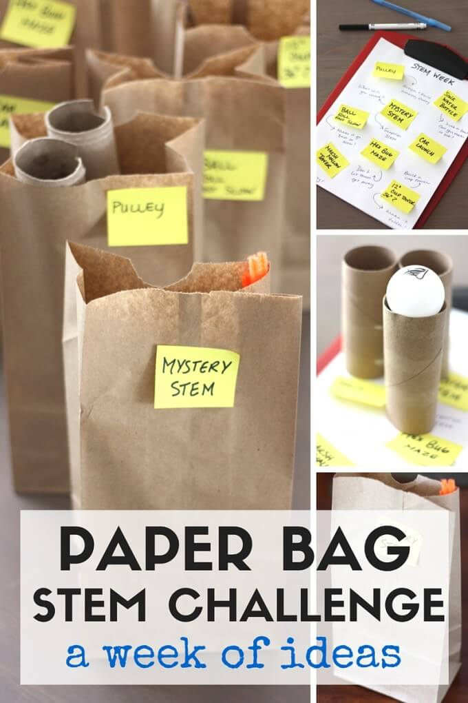 Paper Bag STEM challenges week of ideas for kids STEM projects.