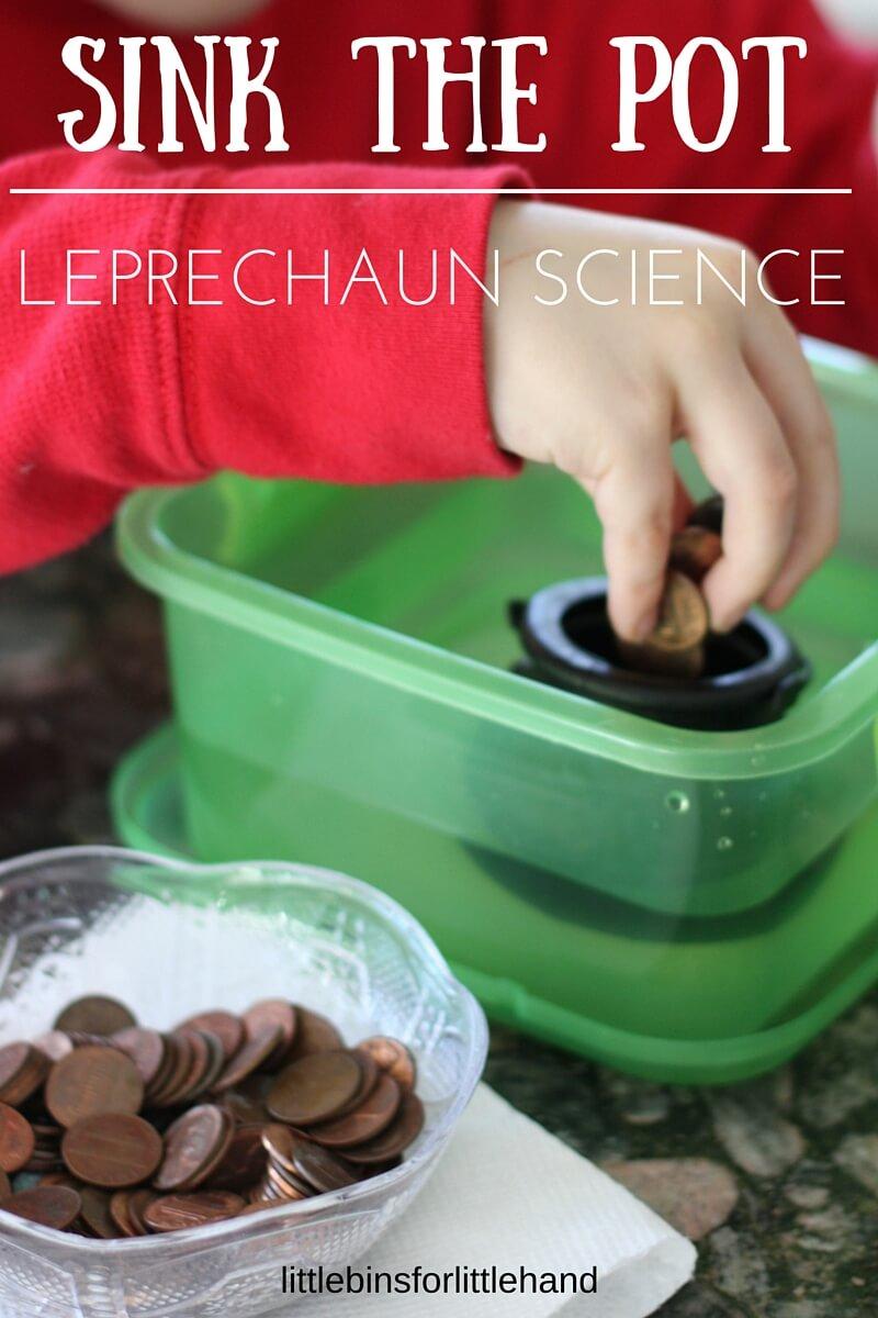 Experimentos relacionados con el día de San Patricio: Hundir la olla, ciencia de leprechauns en Little Bins for little hands