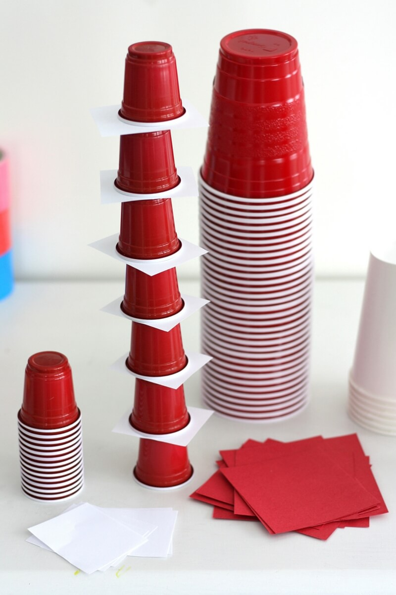 dr seuss stem challenge stacking cups tower cats hat