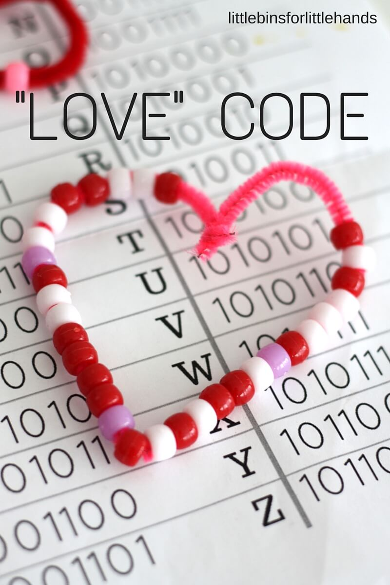 Valentines Day Coding Stem Binary Alphabet Beaded Hearts