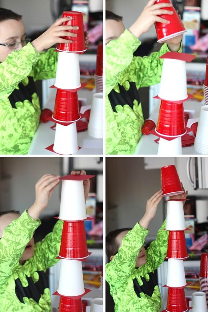 Dr Seuss STEM Challenge Stacking Cups for the Cat's Hat