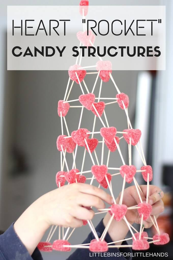 Build Valentines Day Candy Structures for Valentines Day STEM Activities. Candy science and STEM are always fun activities for kids.