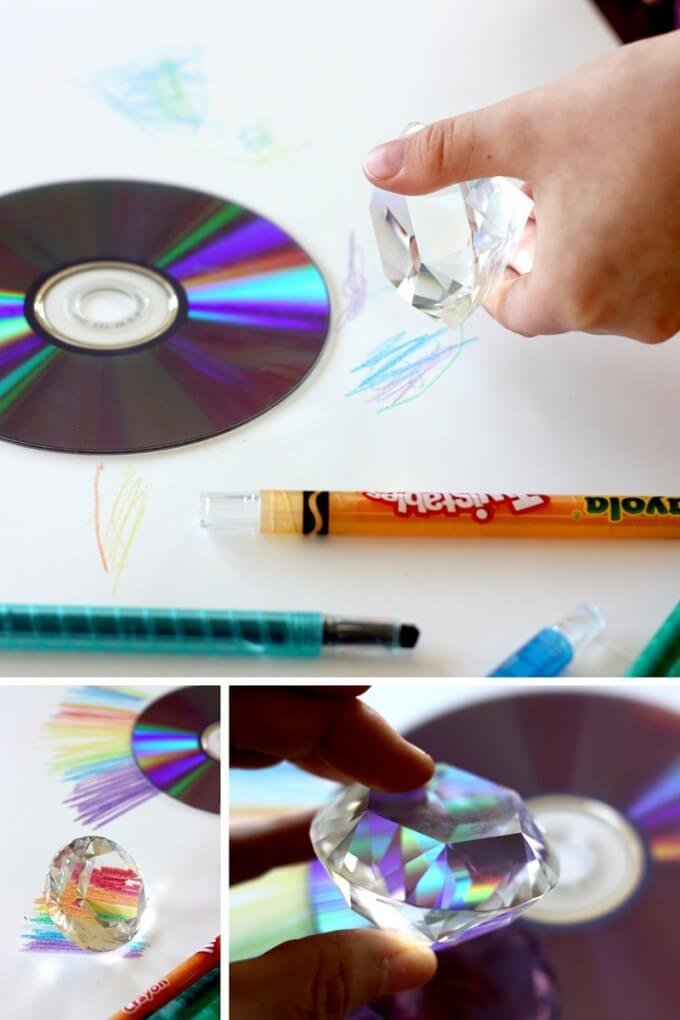 Make rainbows combining crystal prism and CD to refract light