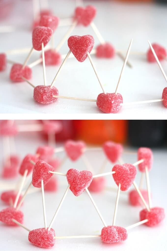 Valentines Day Candy Sculptures Heart Rocket STEM idea