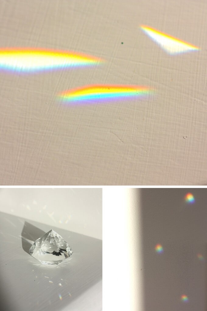 Make rainbows with a crystal prism to bend light