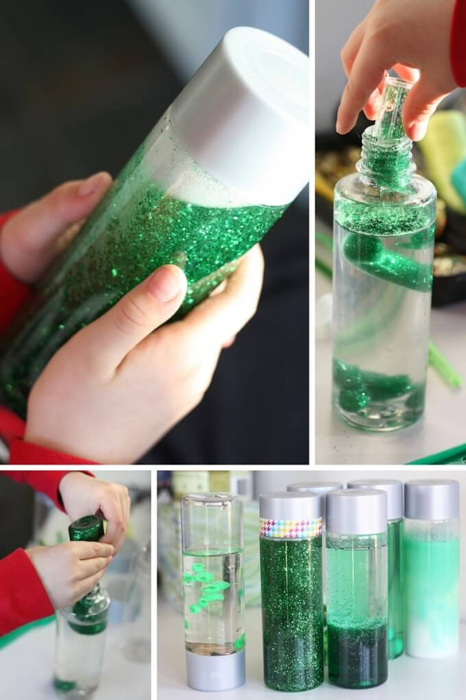 Make a glitter science sensory bottle calm down activity