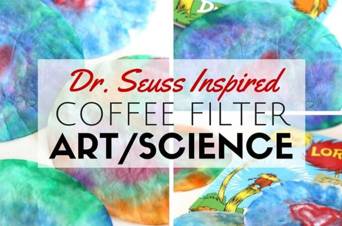 Tie Dyed Coffee Filter Art Inspired Dr. Seuss and The Lorax