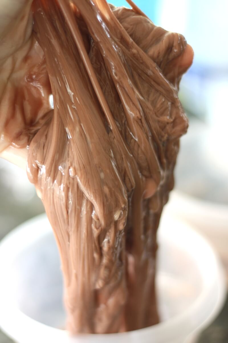 Easy learn how to make chocolate slime recipe with hot chocolate