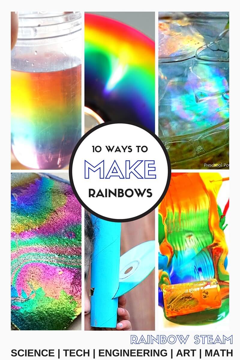 Making Rainbows STEM Ideas Rainbow STEAM Activities. Spring is here! Check out these making rainbows STEM activities! I don't know a kid who doesn't love the magic of a rainbow, adults too. They are fascinating and full of science too. Check out this awesome Top 10 list of  fun ways to make rainbows for STEAM play! Check out all our awesome science and STEM activities this year.