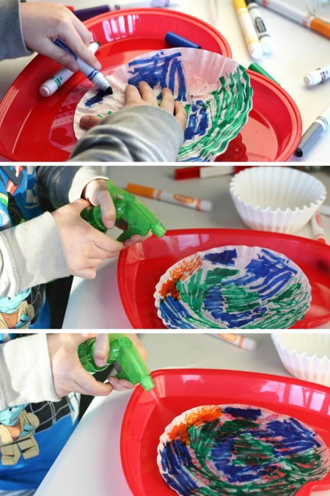 Making tie dyed coffee filter art and science
