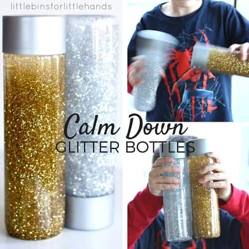 Silver and Gold Calm Down Glitter Bottles for Sensory Processing Anxiety Stress