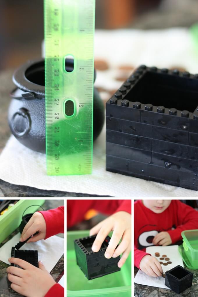 St Patricks Day Sink Float Activity with a LEGO pot