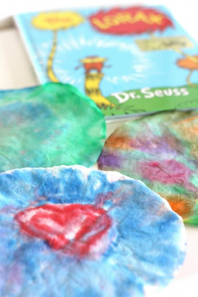 The Lorax inspired coffee filter art and science