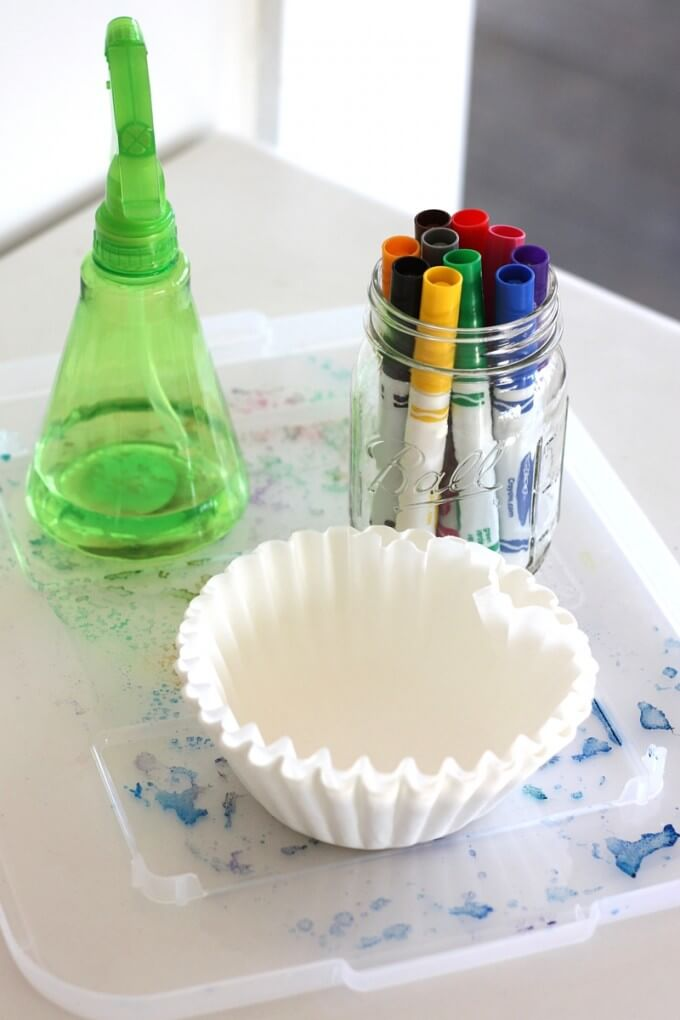 Tie Dyed Coffee Filter Art Set Up and Supplies