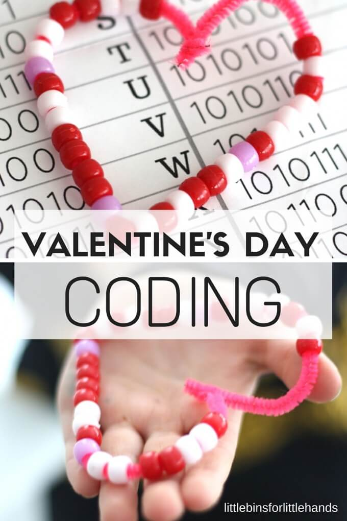 Valentines Day Coding STEM Activity Bead Binary Alphabet. STEAM craft for kids. Technology activity with screen free coding.