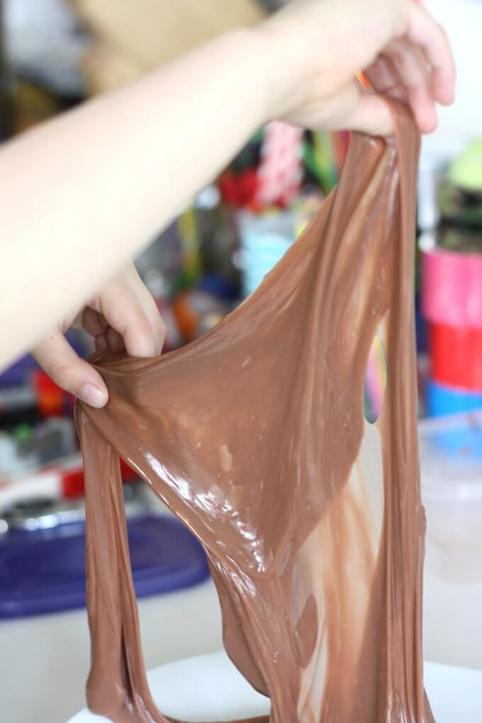 super stretchy chololate slime for kids
