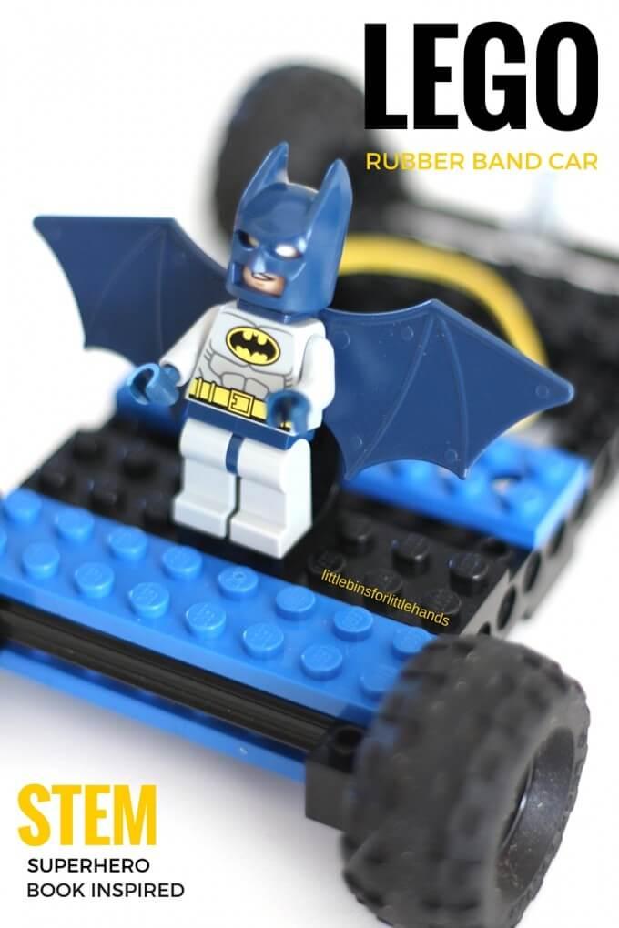 LEGO Rubber Band Car Superhero STEM Book Inspired Activity