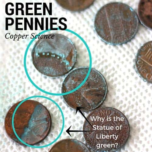 Green Pennies Science Copper Science Experiment