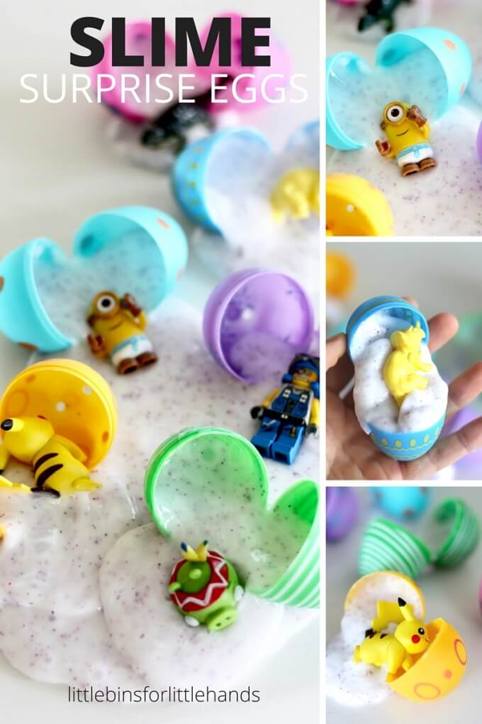 Easter slime surprise eggs using our homemade slime recipe. make slime with our easy slime recipe and add to plastic eggs with fun surprises like LEGO, dinosaurs, Pokemon, Shopkins, or any other small plastic toy!