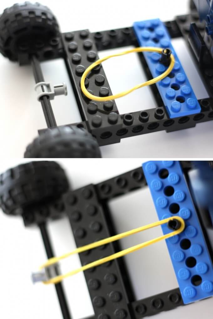 connecting rubber band to techic gear