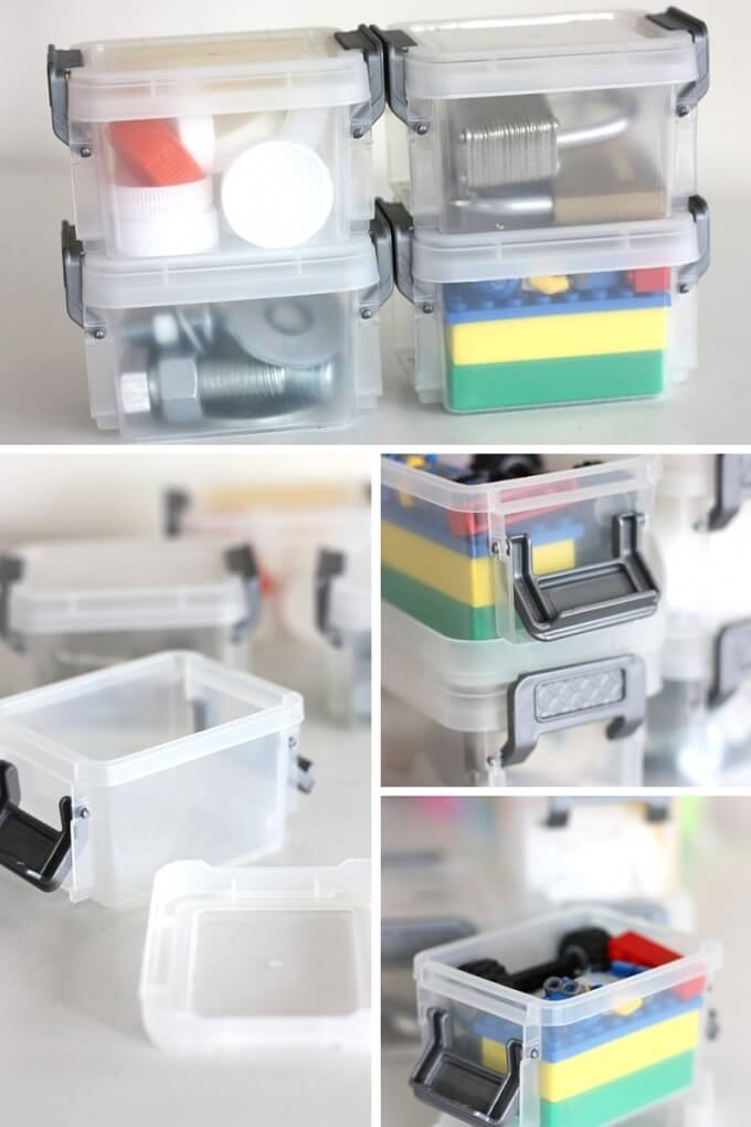 STEM busy boxes with LEGO, Magnets, Tower Building, Lock and Key, and Nuts and Bolts