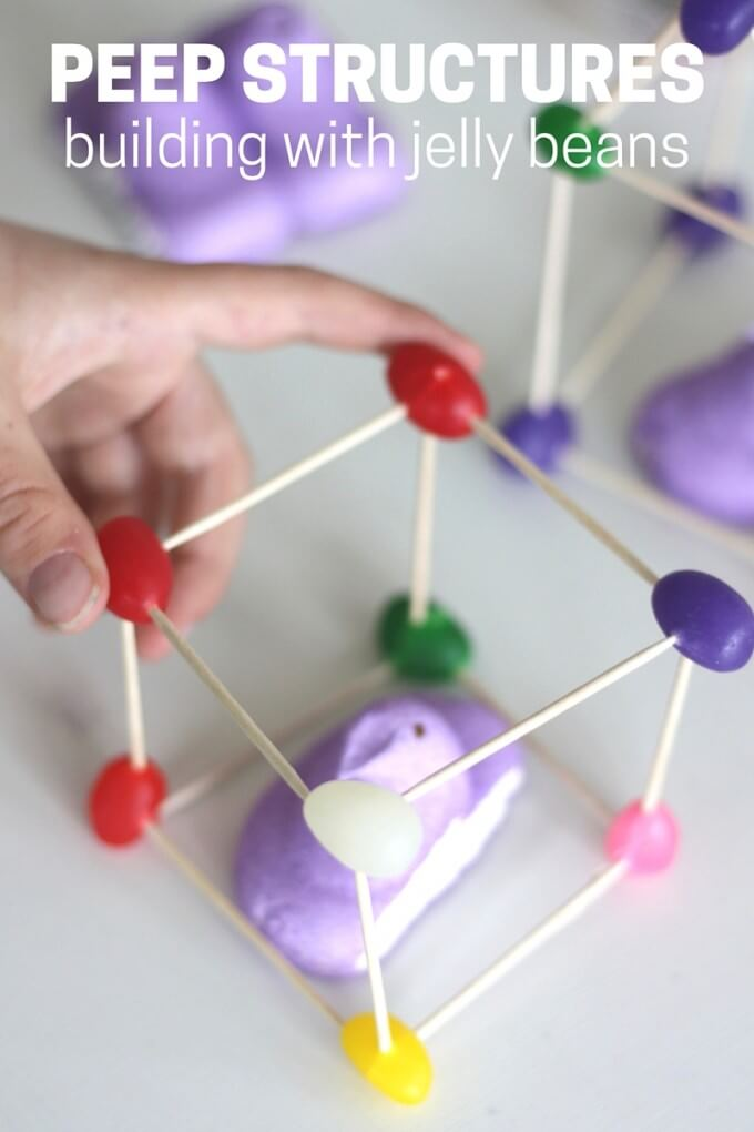building with jelly beans and toothpicks