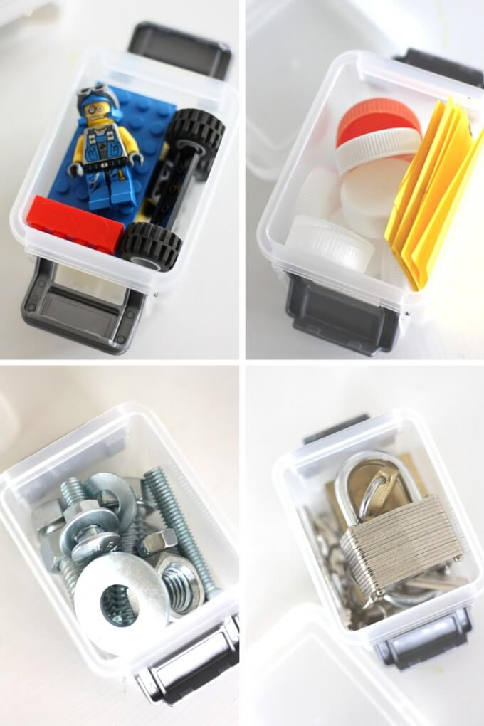 Mini STEM busy boxes for kids