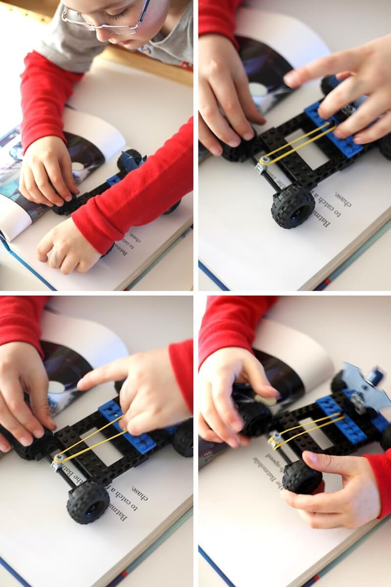 Lego Rubber Band Car Superhero Stem Book Activity