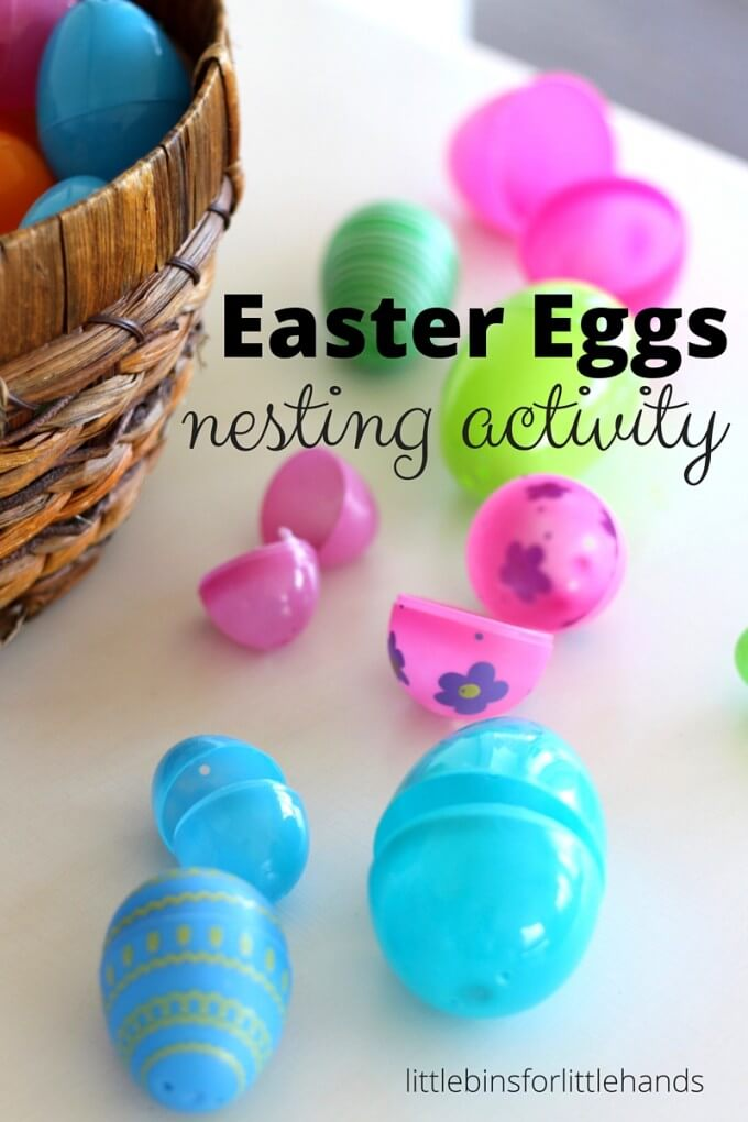 Nesting Eggs Easter Activity  egg sorting and sizing activity for math and fine motor skills