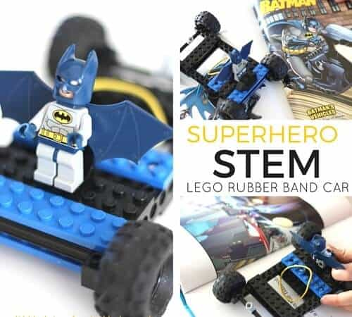 LEGO Rubber band Car Superhero STEM Activity
