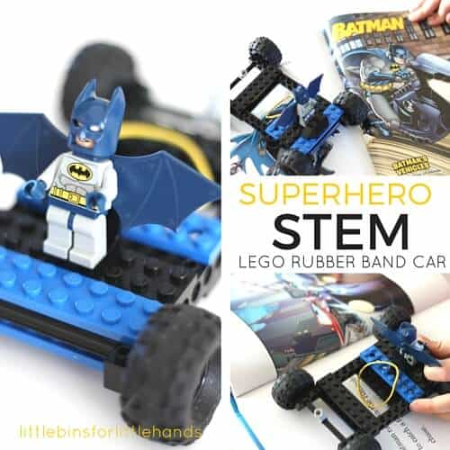 LEGO Rubber Band Car Superhero STEM Book Inspired LEGO Challenge