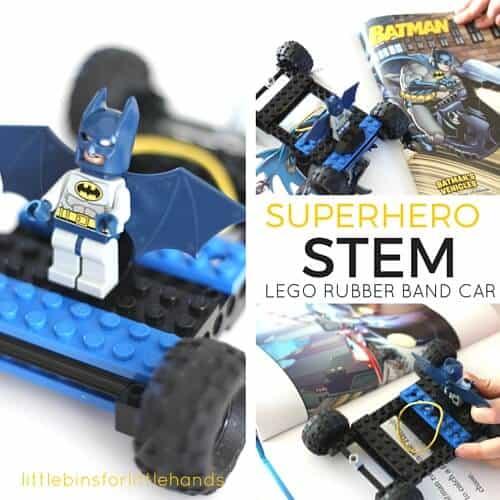 LEGO Rubber Band Car Superhero STEM Book Inspired LEGO Challenge