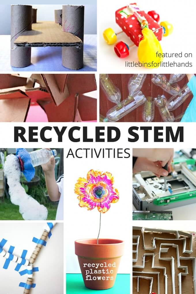 Recycled STEM activities and challenges for kids! Fun ways to use recycled items to come up with STEM activities you can do at home. Perfect for Earth Day STEM challenges. Have your kids design and engineer their own ideas from the recycling bin or from old items you have laying around the house. Little inventors will love STEM activities with cardboard boxes, plastic bottles, and odd parts. Set up an inventors box, put together a STEM kit or tinker tray filled with reusable STEM items for the young engineer.