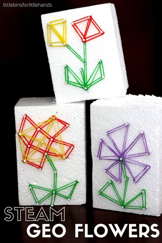 Geo flower STEAM craft for kids and loom band activity perfect for Mother's Day.