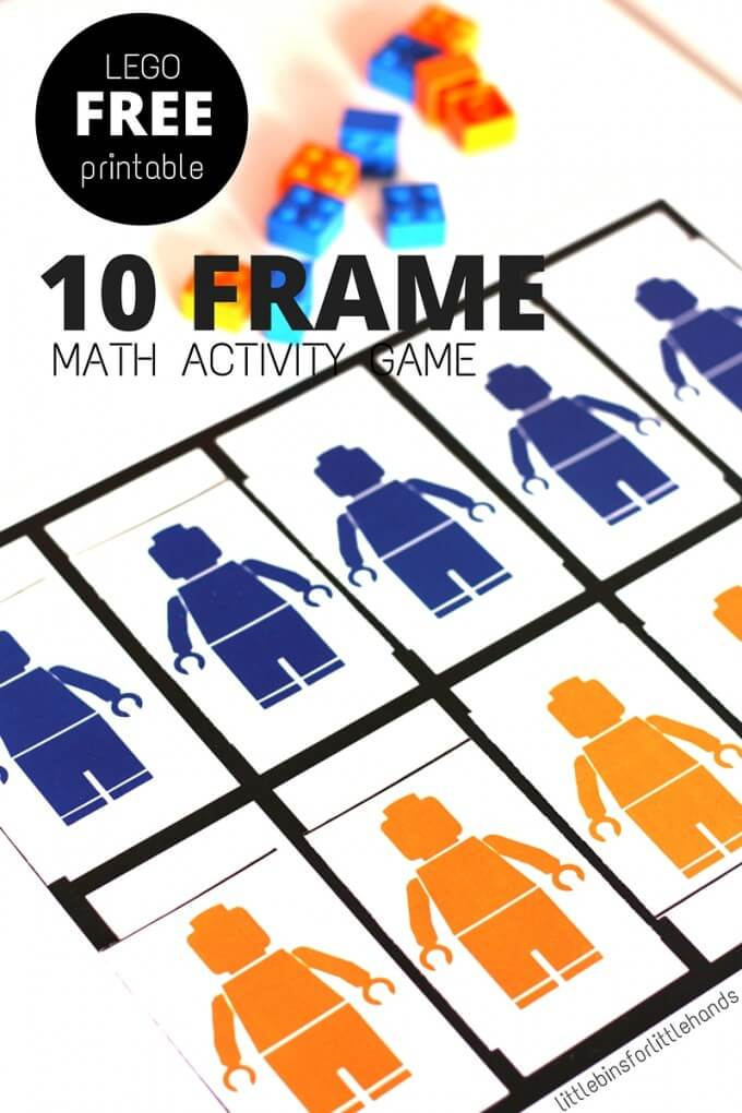 Free LEGO math ten frame grid activity printable for numeracy skills in pre-k and k