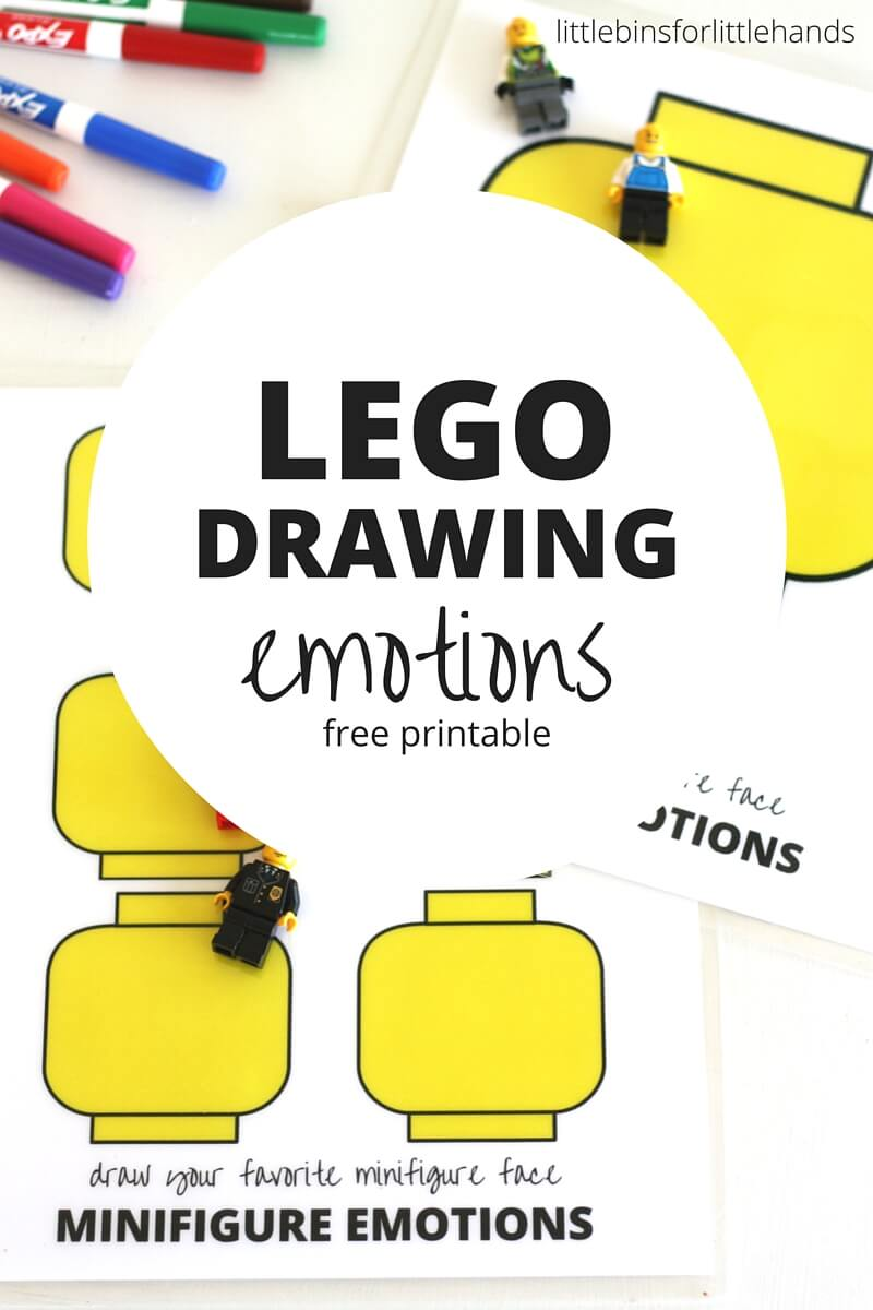 image regarding Free Printable Emotion Faces referred to as LEGO Minifigure Drawing Feelings Video game for Small children
