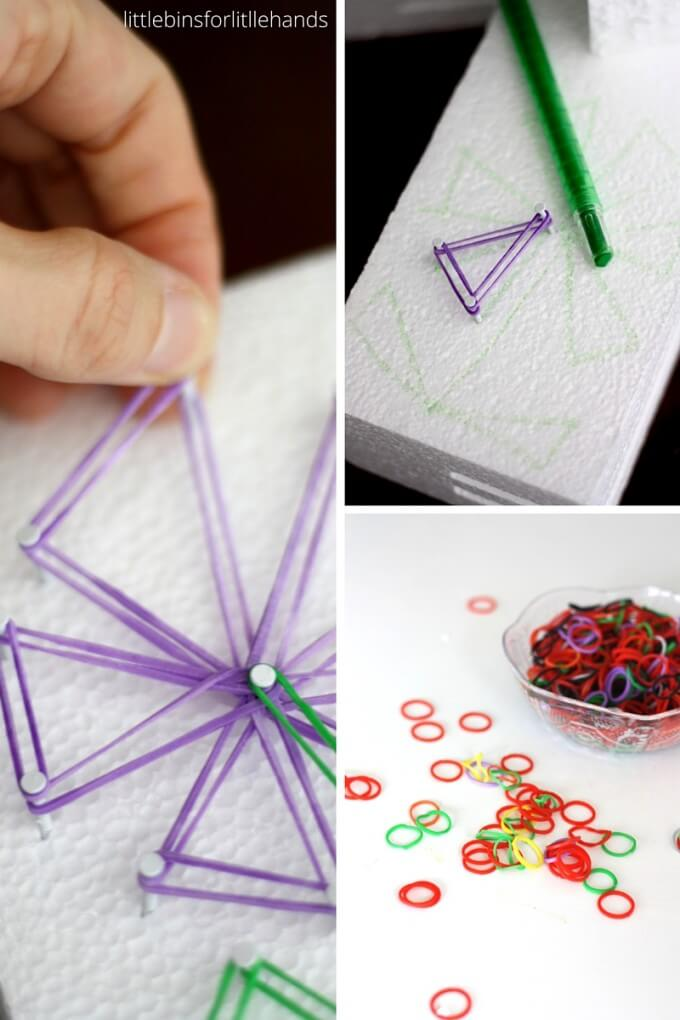 creating a geo board like flower STEAM craft activity with loom bands