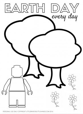 LEGO Earth Day Coloring Page