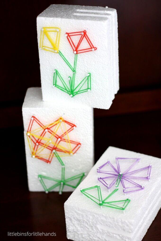 recycled styrofoam geo flower STEAM craft for kids