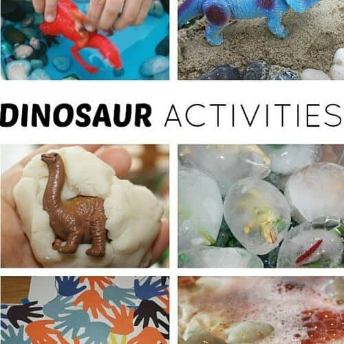 Dinosaur activities for kids science and sensory play
