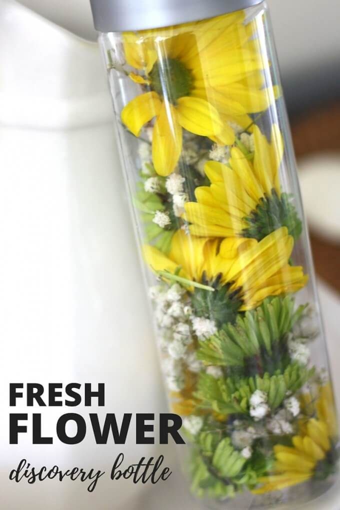 Fresh flower discovery bottle spring activity for kids