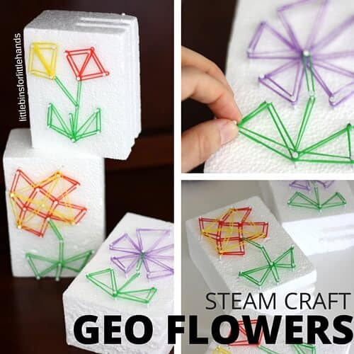 GEO FLOWERS STEAM Craft for Kids Loom Bands activity on styrofoam geo board