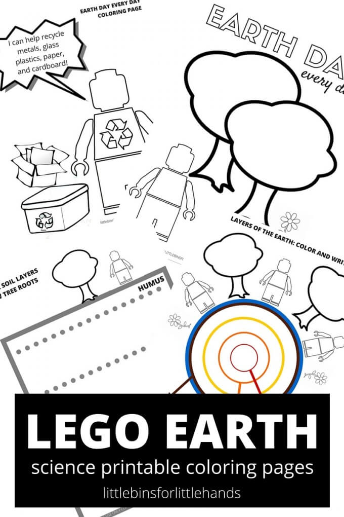LEGO Earth science coloring and Earth Day coloring sheets free printable pages