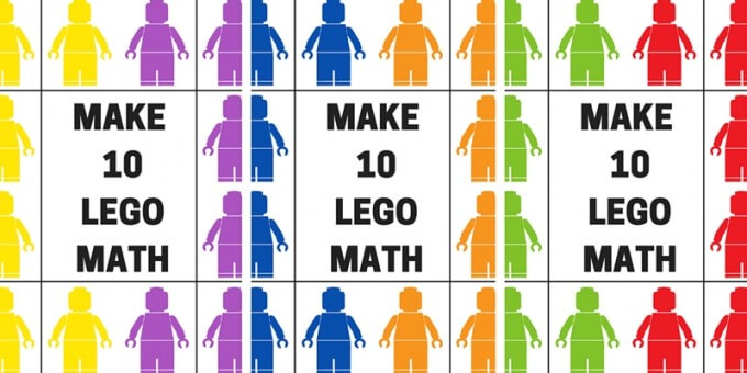 LEGO ten frame grid math game make 10 math printable page