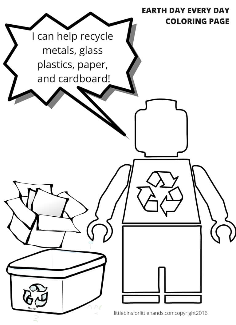 Recycling LEGO Coloring Page Earth Day